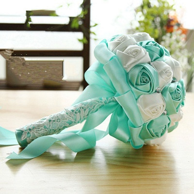 Two Colors Silky Rose Bouquet for wedding_10