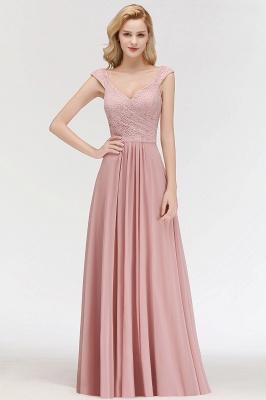 MARIA   A-line Long V-neck Sleeveless Lace Top Chiffon Bridesmaid Dresses_5
