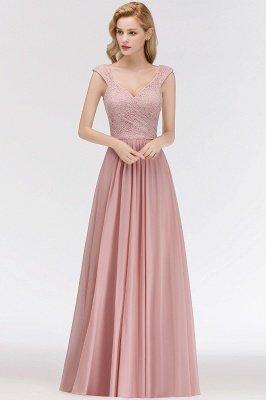 MARIA   A-line Long V-neck Sleeveless Lace Top Chiffon Bridesmaid Dresses_1