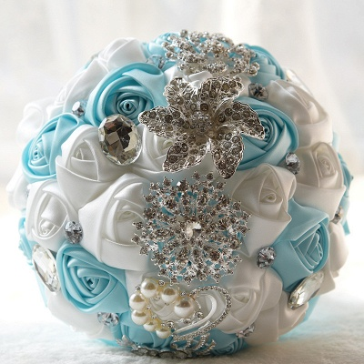 Colorful Silk Rose Crystal Beading Wedding Bouquet_6