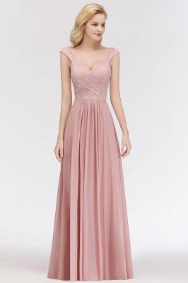 MARIA   A-line Long V-neck Sleeveless Lace Top Chiffon Bridesmaid Dresses_4