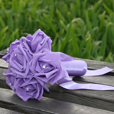 Simple Silk Rose wedding Bouquet in Multiple Colors_10