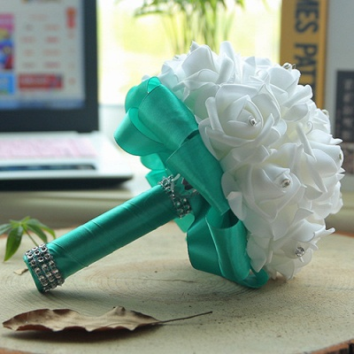 White Silk Wedding Bouquet with Colorful Handles_12