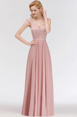 MARIA   A-line Long V-neck Sleeveless Lace Top Chiffon Bridesmaid Dresses_6