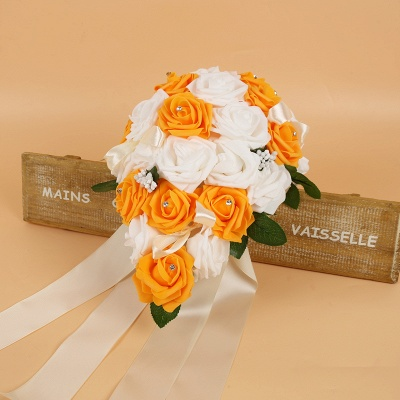 Colorful Silk Rose Wedding Bouquet with Ribbons_5