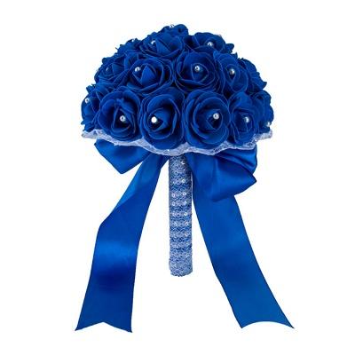 Colorido Rose rebordear Bouquet para la boda_12