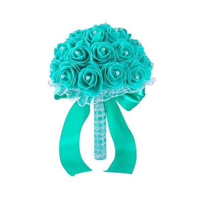 Colorido Rose rebordear Bouquet para la boda_13