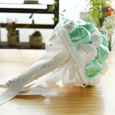 Two Colors Silky Rose Bouquet for wedding_9