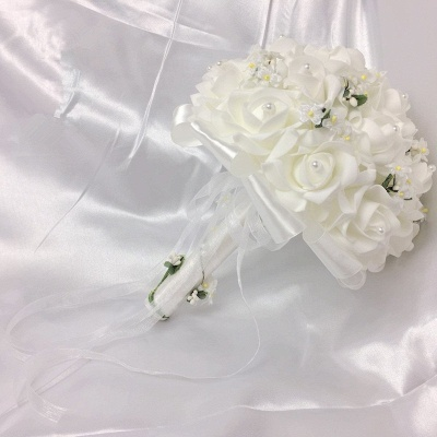 White Rose Wedding Bouquet with Small Flowers_3
