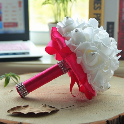 White Silk Wedding Bouquet with Colorful Handles_6