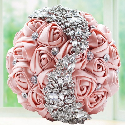 Slik Rose Beading Wedding Bouquet in Multiple Colors_3