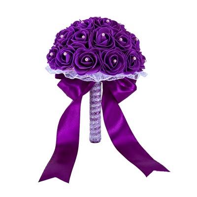 Colorido Rose rebordear Bouquet para la boda_9