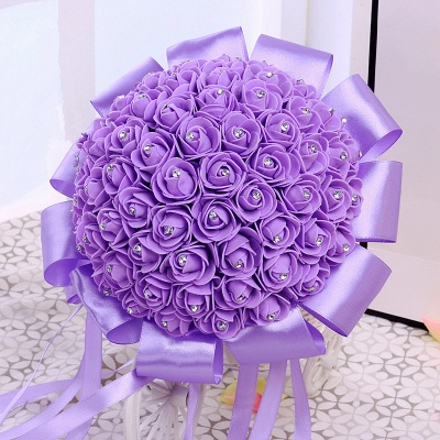 Colorful Silk Rose Wedding Bouquet with Ribbon_5