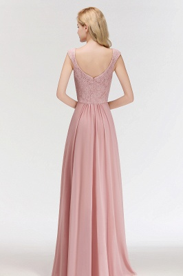 MARIA   A-line Long V-neck Sleeveless Lace Top Chiffon Bridesmaid Dresses_2