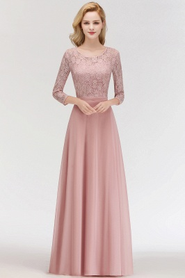 MARIAN | A-line Floor Length Lace Chiffon Bridesmaid Dresses with Sleeves_1