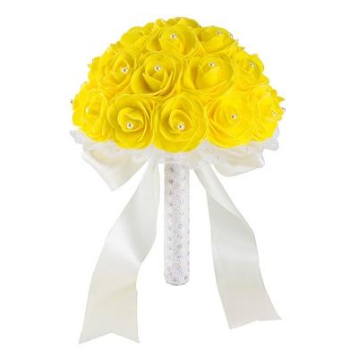 Colorido Rose rebordear Bouquet para la boda_8