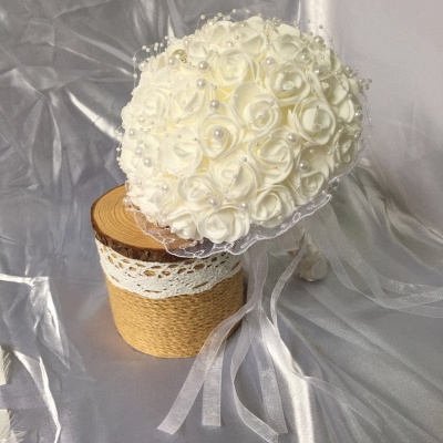 Silk Ivory Rose Wedding Bouquet with Lace ribbons_5