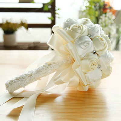 Two Colors Silky Rose Bouquet for wedding