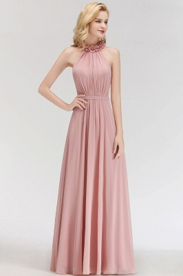 MARGUERITE   A-line Floor Length Halter Sleeveless Ruffled Chiffon Bridesmaid Dresses_5
