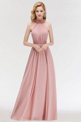 MARGUERITE   A-line Floor Length Halter Sleeveless Ruffled Chiffon Bridesmaid Dresses_1