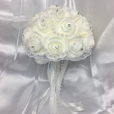 Ivory Rose Bouqet for Wedding with Beading Strings