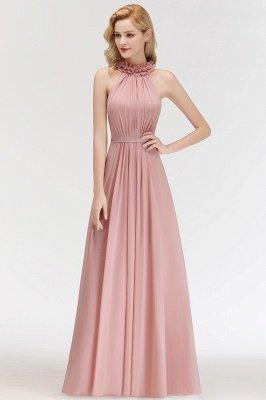 MARGUERITE   A-line Floor Length Halter Sleeveless Ruffled Chiffon Bridesmaid Dresses_3
