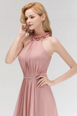 MARGUERITE   A-line Floor Length Halter Sleeveless Ruffled Chiffon Bridesmaid Dresses_6