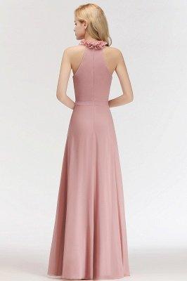 MARGUERITE   A-line Floor Length Halter Sleeveless Ruffled Chiffon Bridesmaid Dresses_2