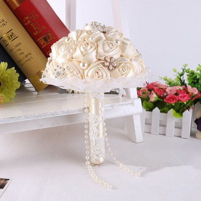 Elegant Pearls Lace Silk Rose Bouquet for Wedding