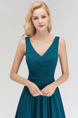 NORA | A-line V-neck Sleeveless Floor Length Ruffles Chiffon Bridesmaid Dresses_8