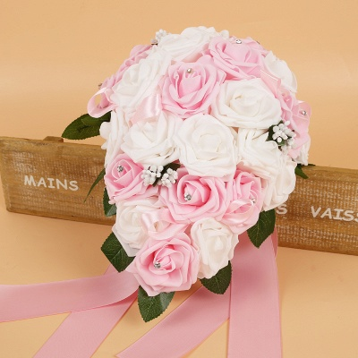 Colorful Silk Rose Wedding Bouquet with Ribbons_2
