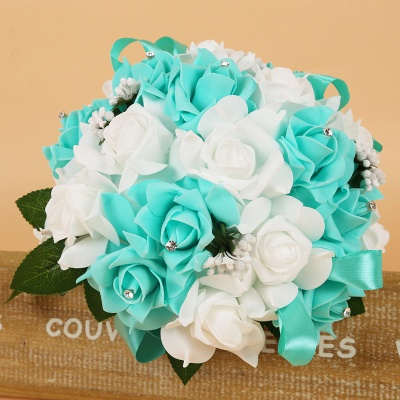 Colorful Silk Rose Wedding Bouquet with Ribbons