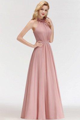MARGUERITE   A-line Floor Length Halter Sleeveless Ruffled Chiffon Bridesmaid Dresses_4