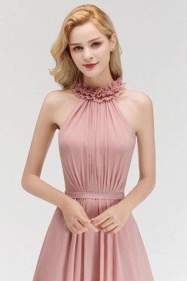 MARGUERITE   A-line Floor Length Halter Sleeveless Ruffled Chiffon Bridesmaid Dresses_7