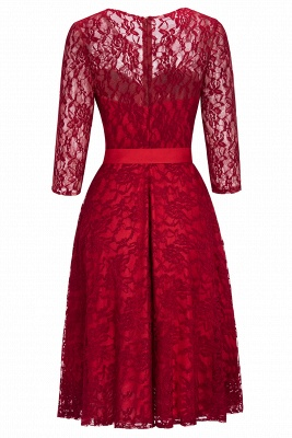 Vintage A-line Burgundy Lace Dresses with Sleeves_9