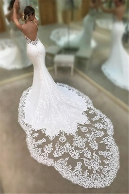 Mermaid Spaghetti Straps Sexy  Bridal Gowns | Sleeveless Appliques Lace Court Train Wedding Dresses Cheap_3