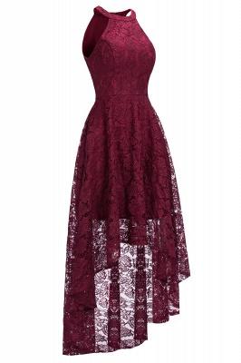 Halter Sleeveless Sheath Asymmetrical Burgundy Lace Dresses_2