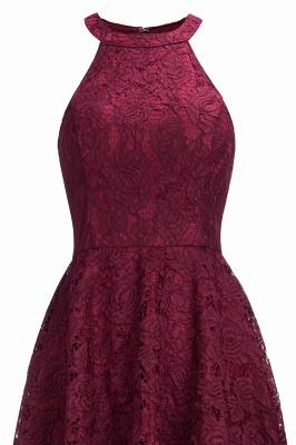 Halter Sleeveless Sheath Asymmetrical Burgundy Lace Dresses_4