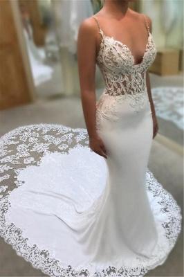 Mermaid Spaghetti Straps Sexy  Bridal Gowns | Sleeveless Appliques Lace Court Train Wedding Dresses Cheap_1