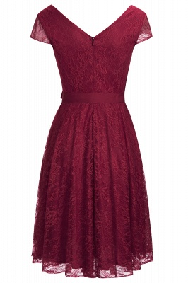 A-line Shoet Sleeves V-neck Lace Dresses with Bow Sash_9