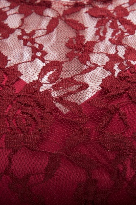 Burgundy Lace Short Sleeves A-line Dresses with Bow_5