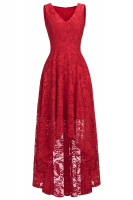 A-line Hi-lo V-neck Sleeveless Burgundy Lace Dresses_7