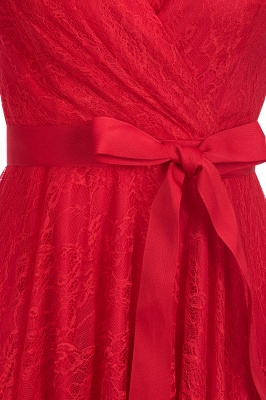 A-line Shoet Sleeves V-neck Lace Dresses with Bow Sash_6