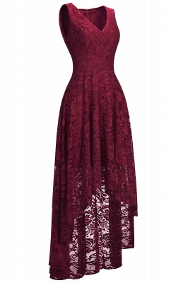 A-line Hi-lo V-neck Sleeveless Burgundy Lace Dresses_3