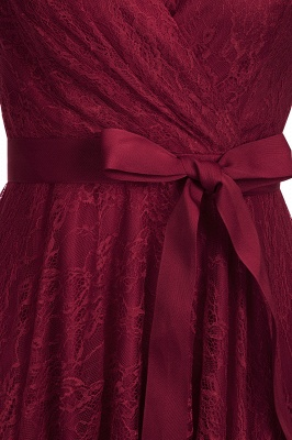 A-line Shoet Sleeves V-neck Lace Dresses with Bow Sash_7