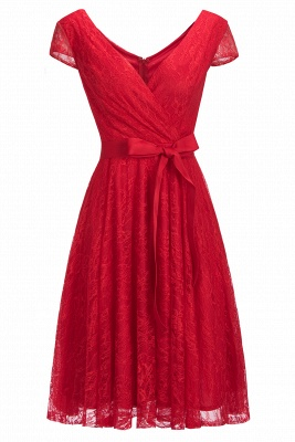A-line Shoet Sleeves V-neck Lace Dresses with Bow Sash_1