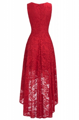A-line Hi-lo V-neck Sleeveless Burgundy Lace Dresses_8