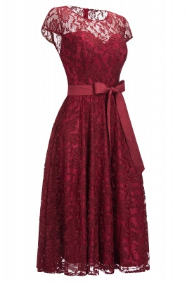 Burgundy Lace Short Sleeves A-line Dresses with Bow_3