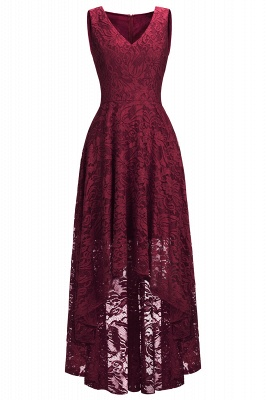 A-line Hi-lo V-neck Sleeveless Burgundy Lace Dresses_10