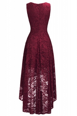 A-line Hi-lo V-neck Sleeveless Burgundy Lace Dresses_11
